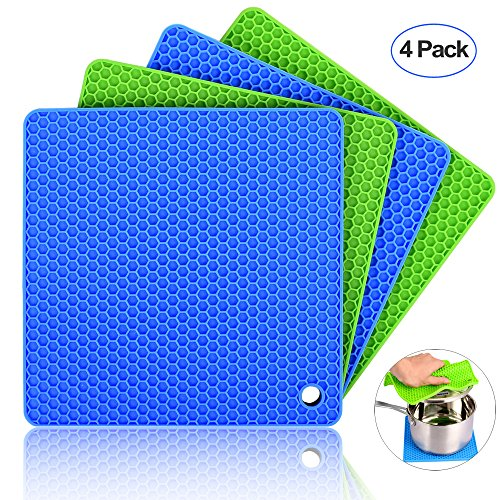 Silicone Pot Holders (Set of 4), Ankway Silicone Trivets Multi-Purpose Hot Pads Heat Resistant to 450 °F, Non-slip, Insulation, Durable, Flexible Trivet for Table Kitchen(2 Blue & 2Green) by Ankway