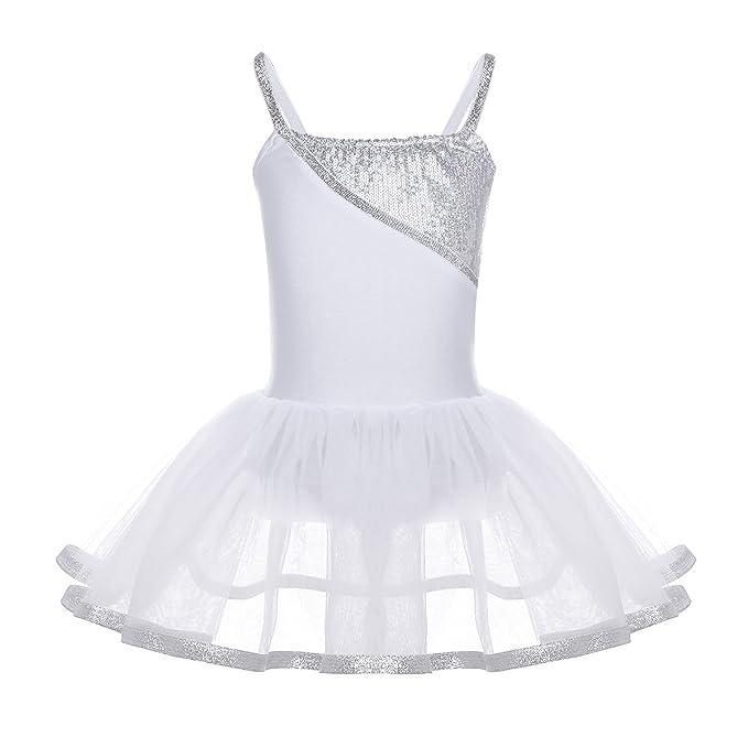iEFiEL Vestido Maillot de Ballet Danza Vestido de Princesa Blanco Sin manga Para Niña Actuación Fiesta
