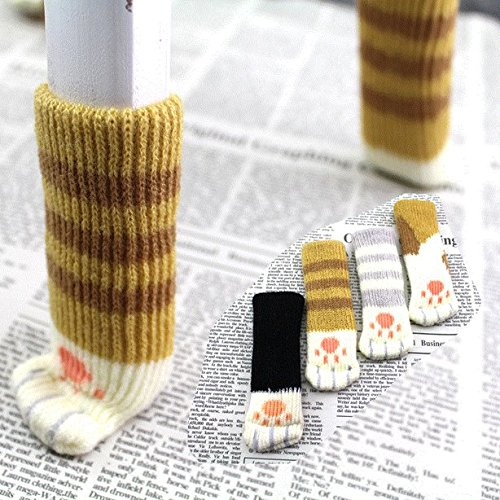 Chris.W 24Pcs(6Sets) Chair Socks Fancy Table Leg Pads with Cute Cat Paws Design, Reliable Furniture and Floor Protector, 4 Different Patterns + 2 Random Patterns - Pack of 24 socks by Chris.W