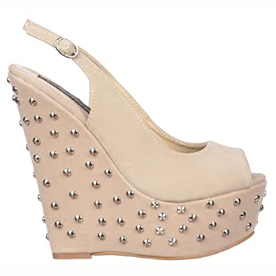 Onlineshoe Damen-Frauen Beige Nieten Wedge Peep Toe Schuhe - Sling Backs - Beige Wildleder Nieten