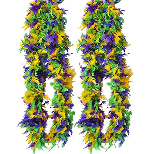 Tigerdoe Feather Boas - 2 Marabou Boas, Party Dressup Costume Accessories, 72 inch Long by (2 Pack Mardi Gras Boas) -
