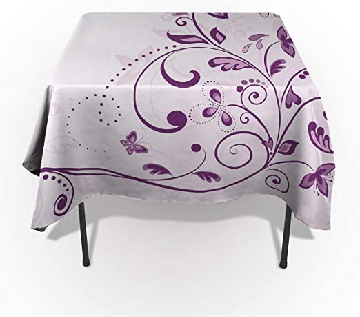 Lavender Tablecloth Stripes and Flowers Rectangular Table Cover 60 X 84 Inches