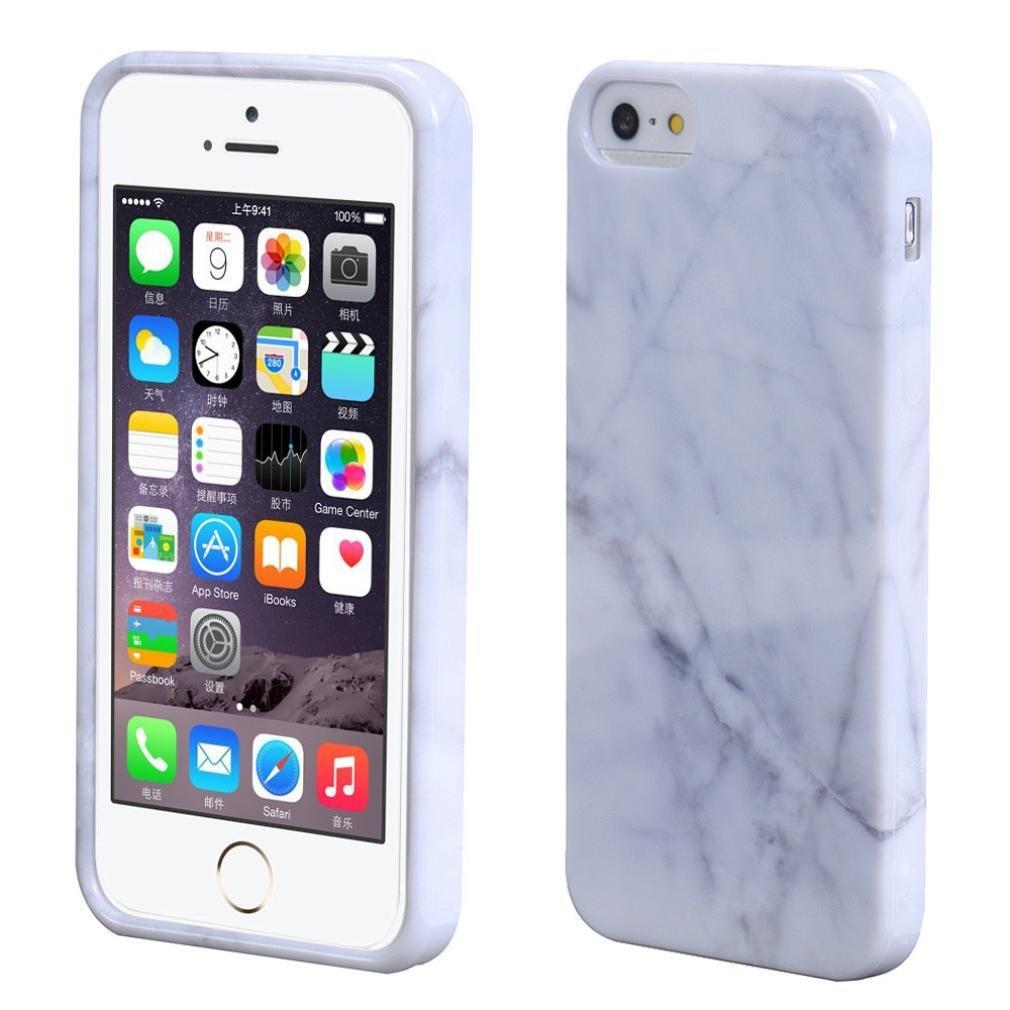 Susenstone Marble Texture Print Cover Case Skin For iPhone 5s White Susenstone_1336 Other case