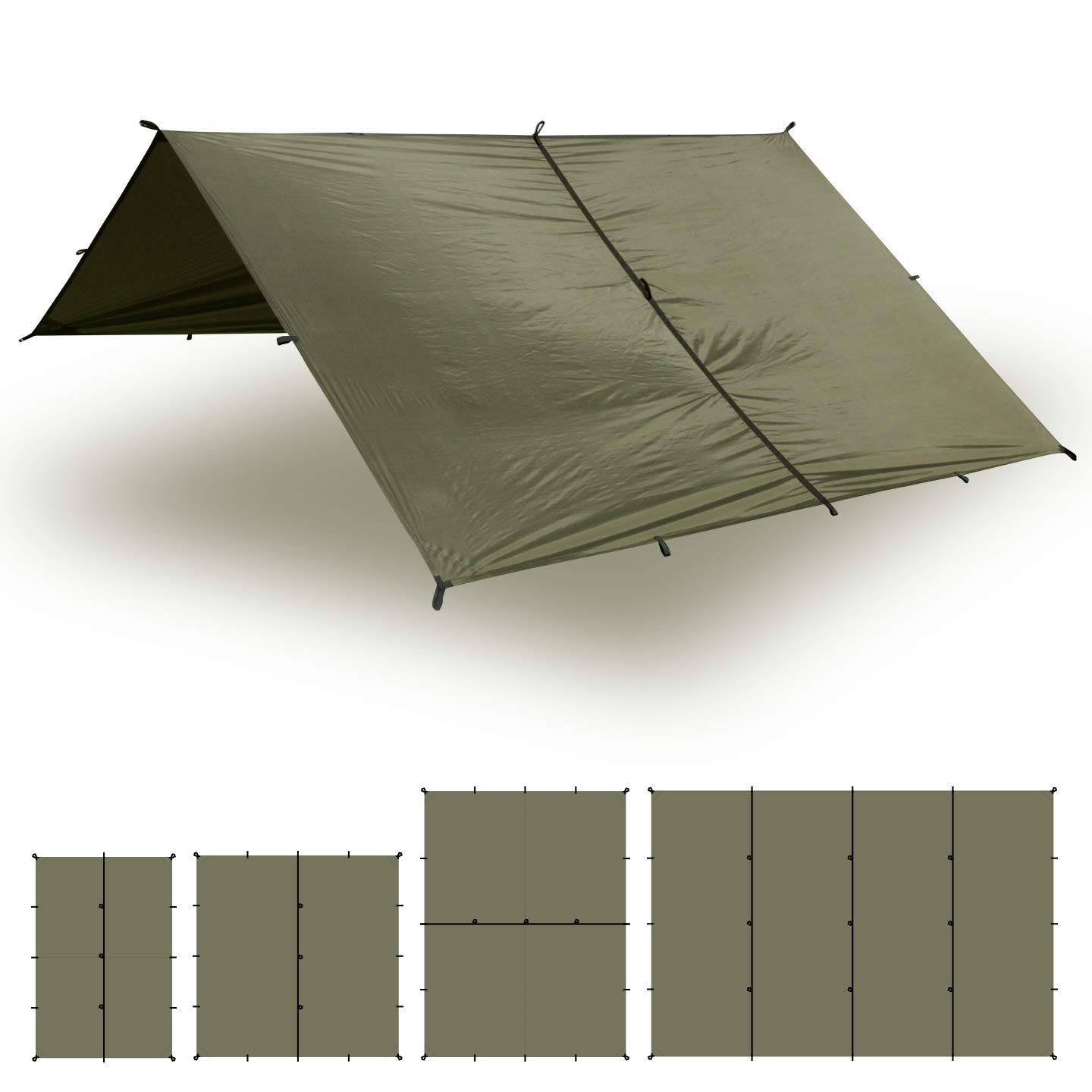 Aqua Quest Safari Tarp - 100% Waterproof Lightweight Silicone Bushcraft Camping Shelter - 10 x 7 Olive Drab by Aqua Quest
