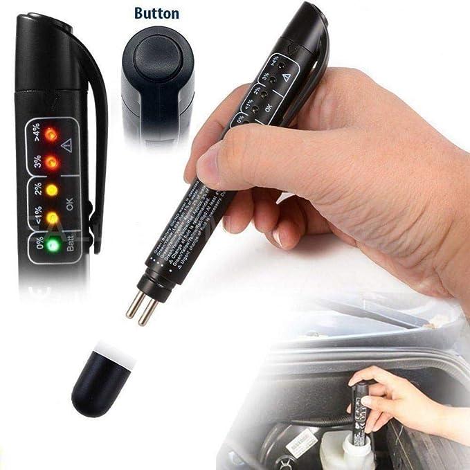Hete Supply Bremsflüssigkeitstester Automobil Diagnosegerät Fahrzeug Flüssigkeitstester Mit 5 Led Mini Indikator Kalibriert Für Dot4 Dot5 Bremsflüssigkeit Baumarkt