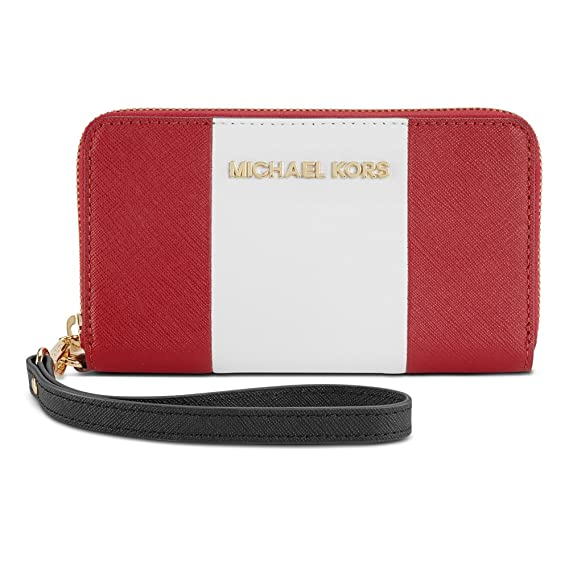 46441df3444c Amazon.com: Michael Kors Essential Zip Wallet for iPhone 6 Red/White/Black  Saffiano: Cell Phones & Accessories