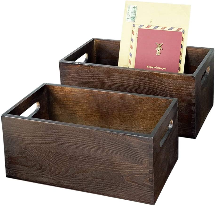 Wooden Storage Decorative Boxes, Mail Letter Bill Organizer Countertop, Rustic Table Décor Storage Box for Home Kitchen Entryway Bathroom Storage Decor Box Set of 2 with 2 Fake Plant Flower