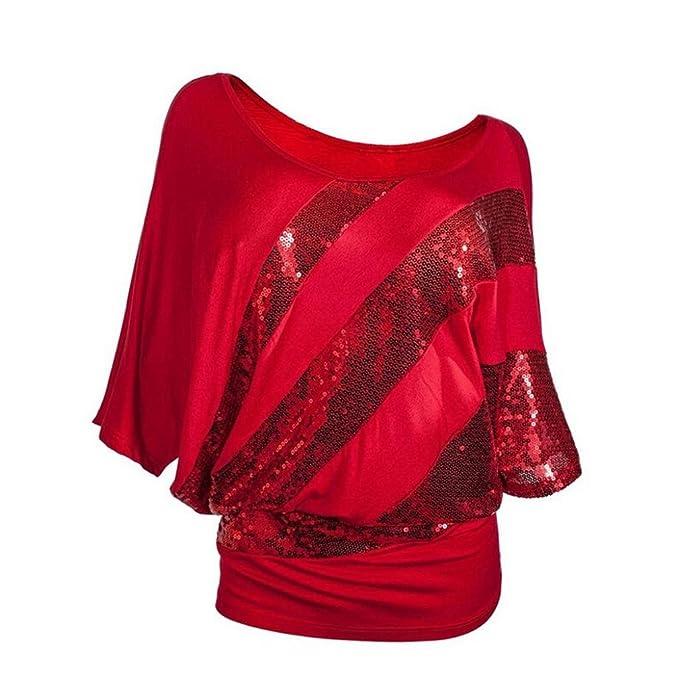 Lentejuelas Top Blusa de Hombro con Espalda Fría Fiesta Camisas Mujer de fiesta