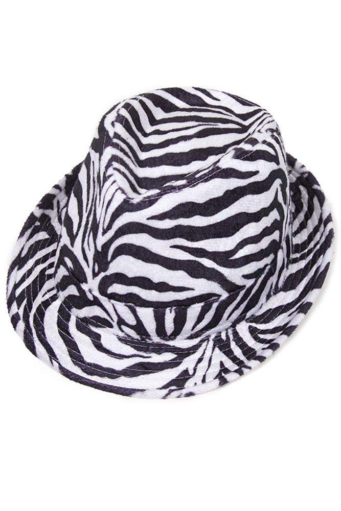 ScarvesMe Unisex Fashion Zebra Fedora Hat (HT1120_BK)