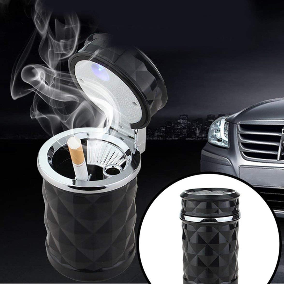 Banbie Auto Aschenbecher sicher flammhemmend Aschenbecher Diamond Cut LED-Leuchtanzeige