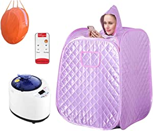 4YANG Portable Steam Sauna Spa, 2L Personal Therapeutic Sauna for Weight Loss Relaxation at Home, Person Sauna with Remote Control, Timer (Purple)
