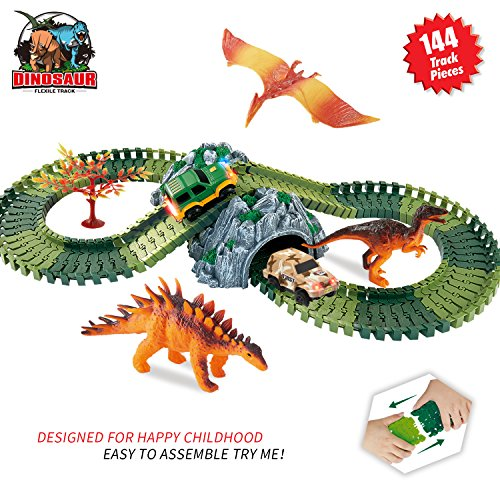 HOMOFY Dinosaur Toys Race Car Track Sets Jurassic World with 144 Pcs Flexible Tracks, 3 Dinosaurs,2 Led Cars,1 Tree and 2 In 1 Tunnel for 1 2 3 4 Year (Race Toy)