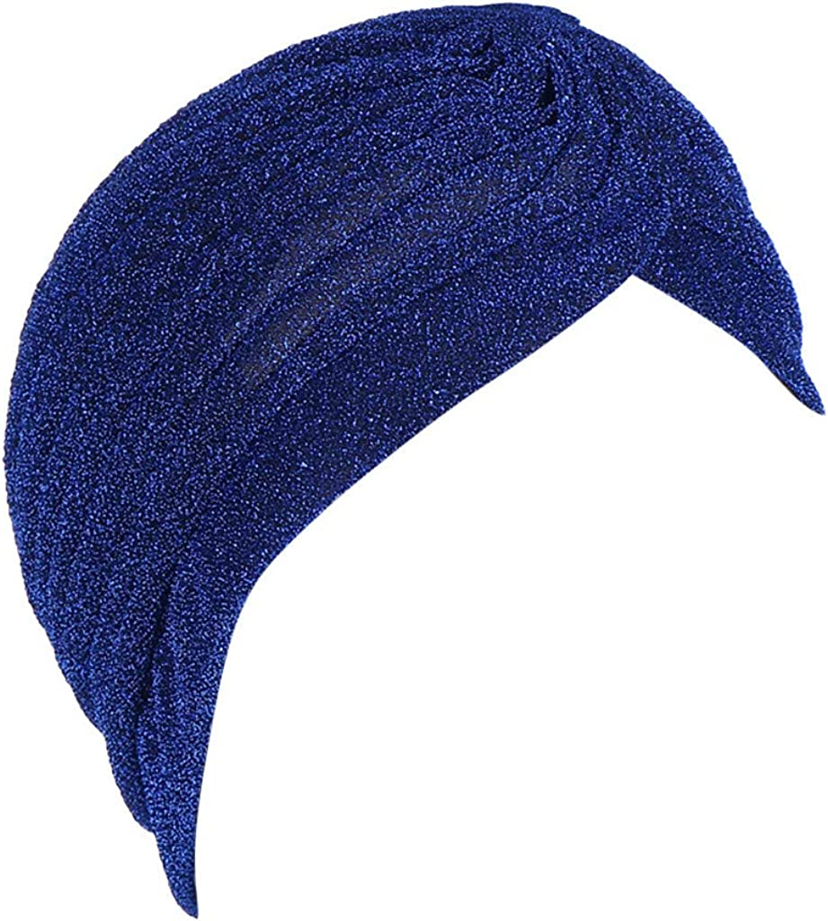 iHHAPY India Muslim Hat Beanie Turban Wrap Cap Women Solid Color Bright Silk Ruffle Cancer Chemo Shower Cap