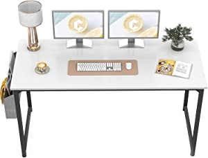 """CubiCubi Computer Desk 55"""" Study Writing Table for Home Office, Modern Simple Style PC Desk, Black Metal Frame, White"""