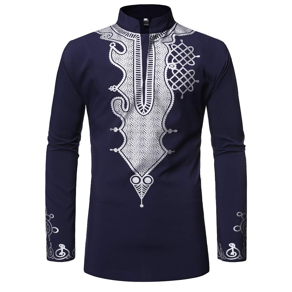 Luxfan Mens Dashiki African Tribal Clothing Printed Long Henley Shirt Traditional Ethnic Slim Fit Outfit Plus Size