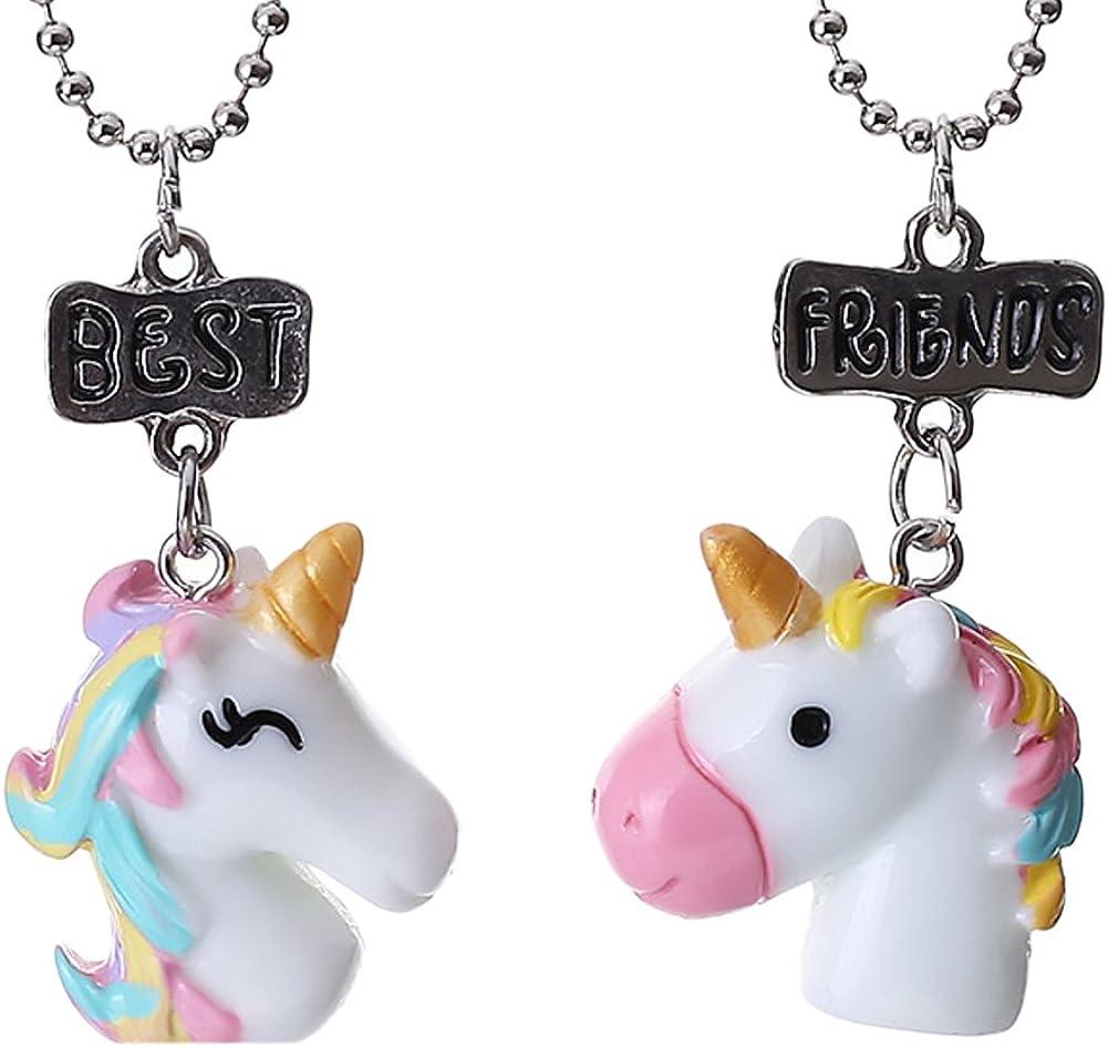Pour meilleurs amis Lot de 2/colliers Gudeke pour enfant avec jolis pendentifs licornes