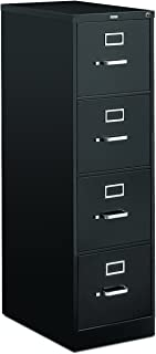 product image for HON 4-Drawer Letter File - Full-Suspension Filing Cabinet with Lock, 52 by 25-Inch Black (H514)