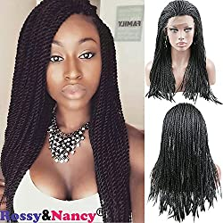 Rossy&Nancy Cheap Braided Synthetic Lace Front Wigs for Black Women Natural Black Color 20inch