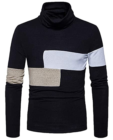 ARRIVE GUIDE Mens Cowl Neck Spliced Striped Knitted Slim Pullover ...
