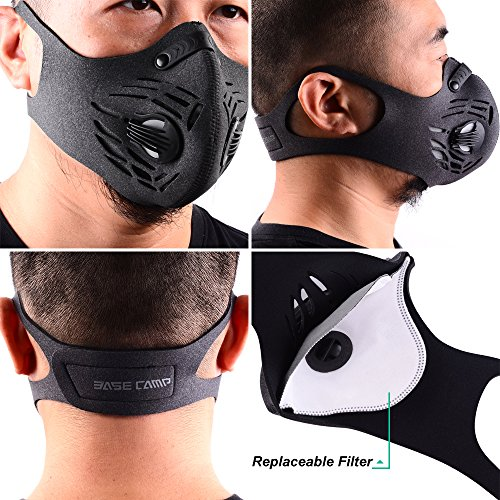 : BASE CAMP Dust Pollution Mask Activated Carbon Dustproof Mask with Adjustable HOOK&LOOP Strap and N99 Filters Neoprene Air Pollution Mask for Woodworking Construction Sanding Mowing Gardening
