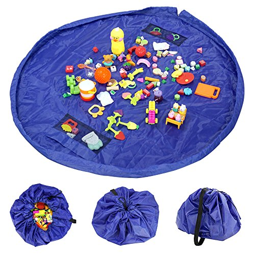 Besego Toys Storage Bag, 60 inch Childrens Floor Activity Mat and Kids Toys Organizer, Very Convenient, Fast, and Neat Drawstring-Playroom Organizer, Perfect for Storing Lego, Small and Medium Toys
