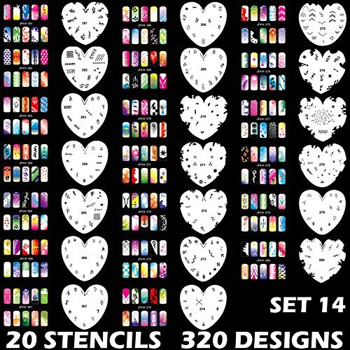 (Custom Body Art Airbrush Nail Stencils - Design Series Set # 14 Includes 20 Individual Nail Templates with 16 Designs each for a total of 320 Designs of Series #14)