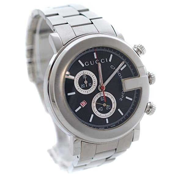 c13b96449716 グッチ GUCCI Gラウンド 101M クロノグラフ YA101309 腕時計 シルバー メンズ クオーツ ブラック文字盤 [