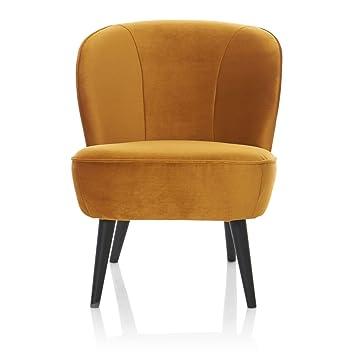 Impressionen Living Sessel Retro Look Samt Holz Gelb Amazon