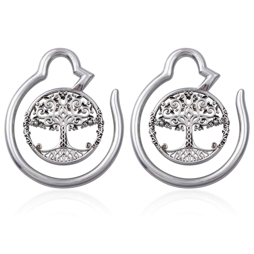 HONGTU Tree of Life Ear Weights Hoop Ear Gauge Expander Plugs Body Piercing Tribal New Jewelry 6g(4mm) (Silver) by HONGTU implant