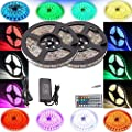 4EverShine Waterproof Led Strip Lighting 10 Meters 32.8 Feet 5050 RGB 300LEDs Flexible Color Changing Full Kit with 44 Keys IR Remote Controller 12V Power Supply Decorative for any occasion