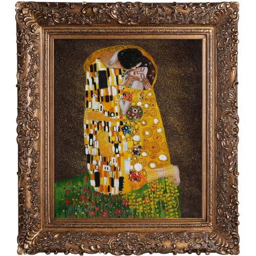 overstockArt Klimt The Kiss Oil Painting with Burgeon Gold Frame, Organic Pattern Facade with Gold Finish