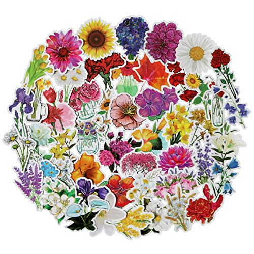 50PCS Different Knds of Cute Cool Flowers Stickers for Laptop Computers, Phone Cases and Bullet Journals (Flower)
