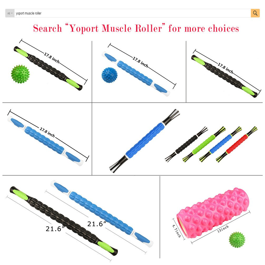 Yoport Muscle Roller Stick, Muscle Massage Roller Tool with Anti Slip Handle for Athlete Runner Releasing Myofascial Trigger Points, Reducing Muscle Soreness, Soothing Cramps and Relieving Muscle Pain by Yoport (Image #7)