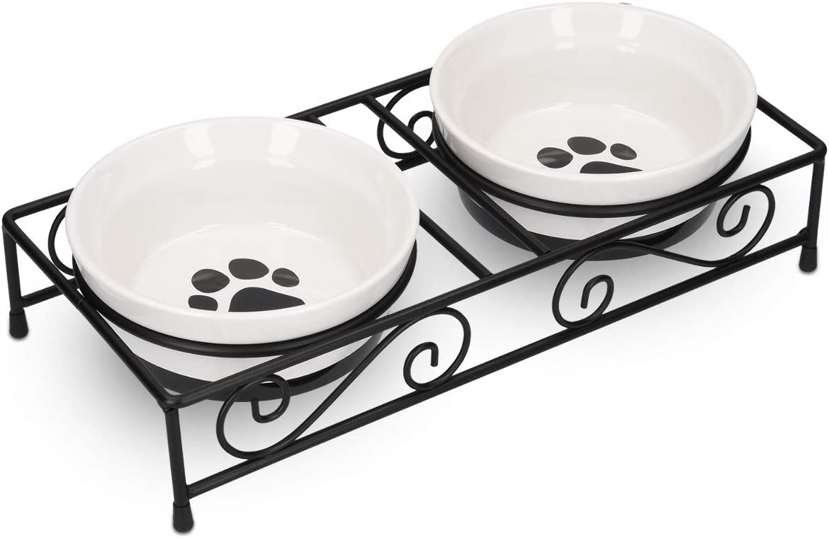 Navaris Ceramic Pet Bowl Set - Food Water Bowls for Cats, Small Dogs and Puppies with Non-Slip Retro Metal Stand - Set of Bowls, 10.8 oz Each