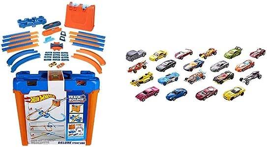 Hot Wheels - Track Buider Caja de Acrobacias Deluxe, Accesorios para Pistas de Coches de Juguete (Mattel GGP93) + Wheels Pack de 20 vehiculos, Coches de Juguete (Modelos Surtidos) (Mattel H7045): Amazon.es: