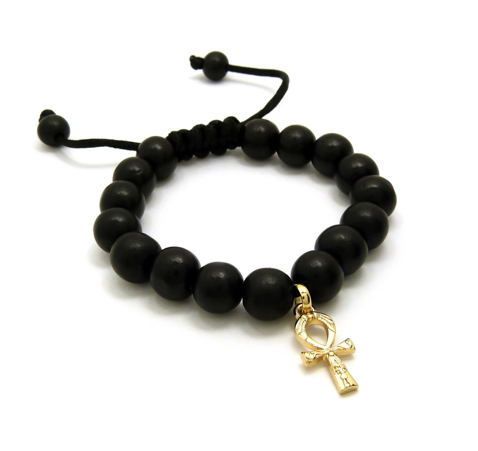 Egypt Key of Life Ankh Charm Adjustable 12mm Wooden Bead Bracelet in Black Tone (Ankh Bracelet / Black)