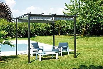 Cenador Pergola con tejado deslizante 3 x 3 metros: Amazon.es: Jardín