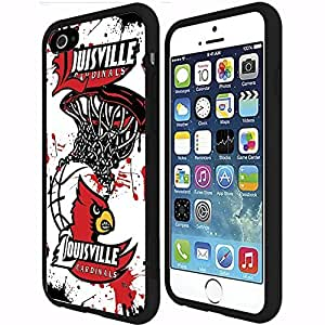 University of Louisville Cardinals Red, Black, and White Basketball Sports RUBBER Snap on Phone Case (iPhone 6 Plus)