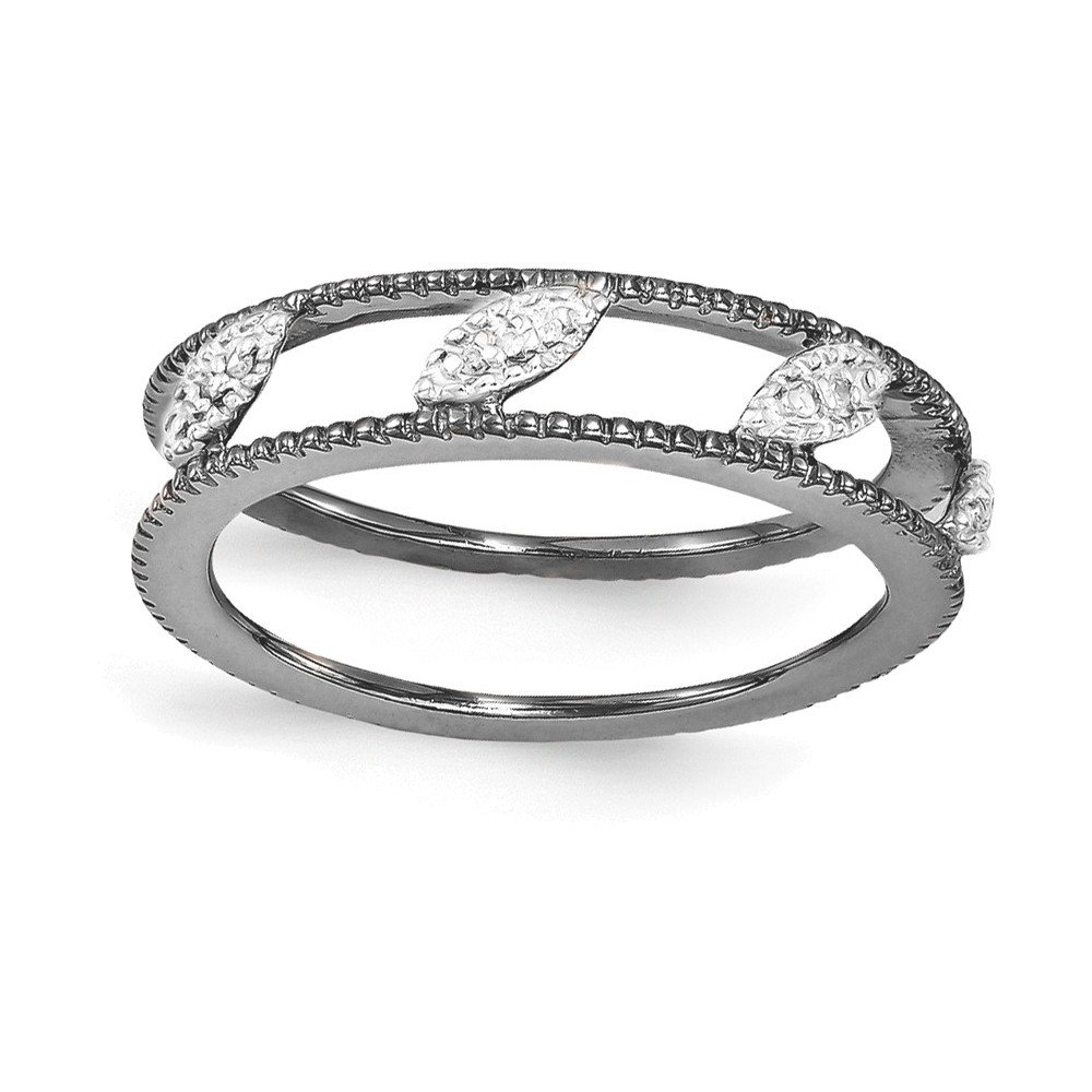 Sterling Silver Stackable Expressions Ruthenium-plated Diamond Jacket Ring Size 7 by Jewelry Adviser Stackable Rings
