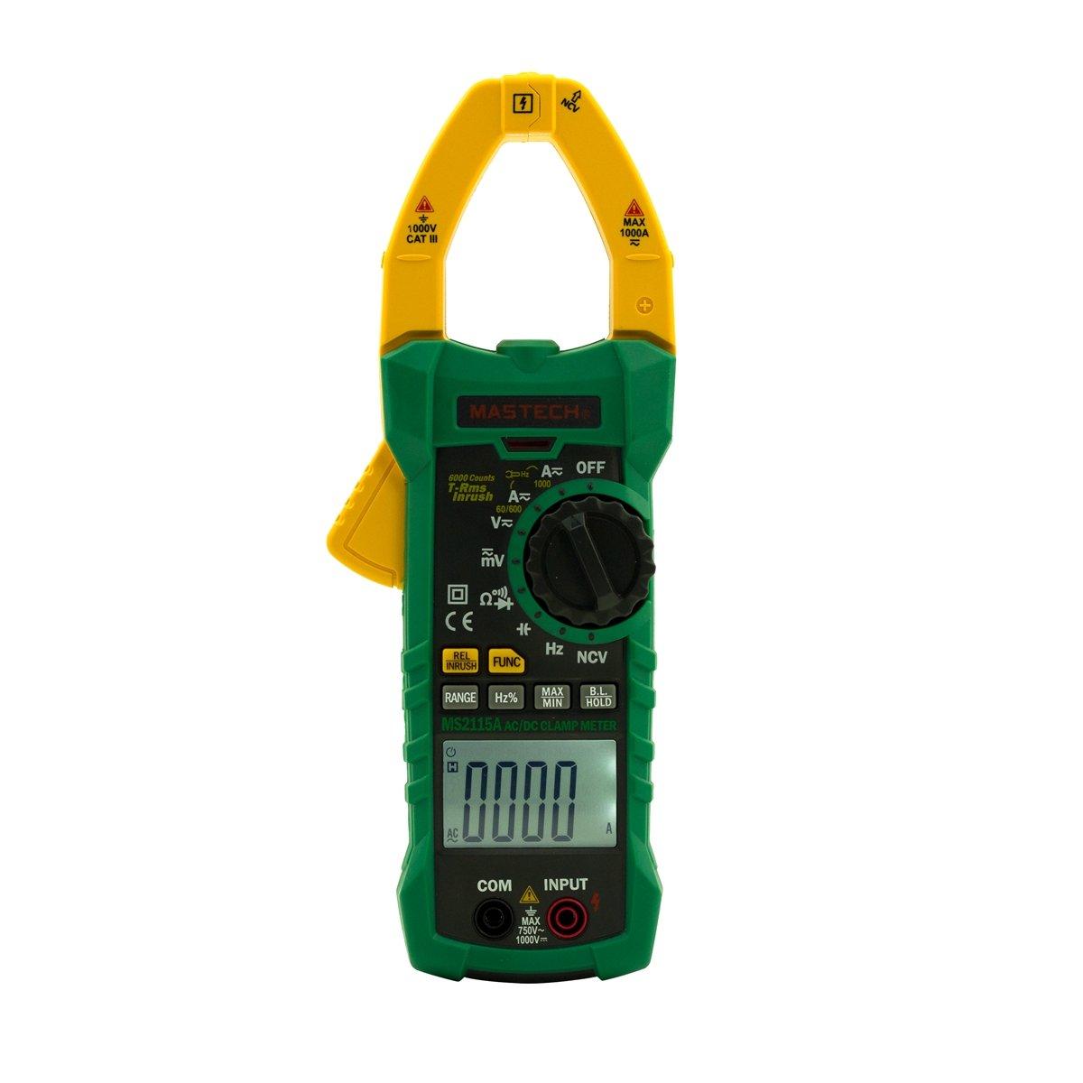 Mastech MS2115A True RMS DIGITAL DC/AC CLAMP METERS Multimeter Amp Voltage R HZ