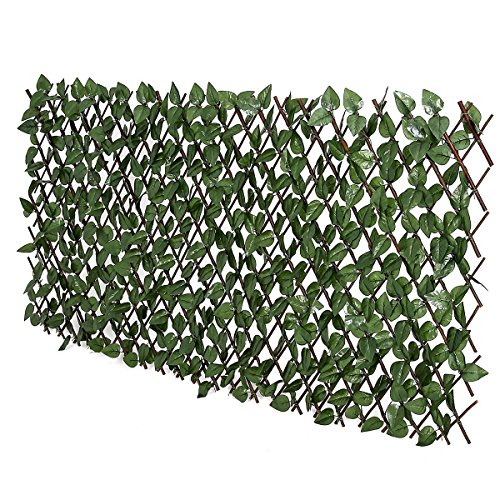 FASHION GARDEN Fence Expandable Faux Ivy Privacy Fence Artificial Hedge 39x78 INCH Single Sided Colour Leaves Green