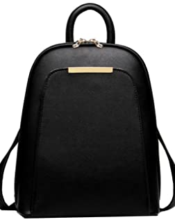 Amazon.com: Coofit Black Leather Backpack for Girls Schoolbag Mini ...