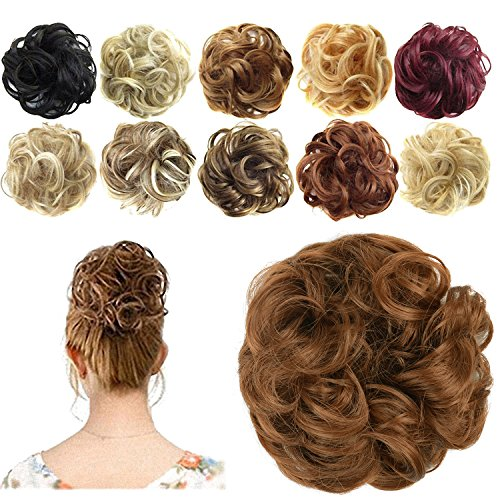 FESHFEN Synthetic Hair Bun Extensions Messy Hair Scrunchies Hair Pieces for Women Hair Donut Updo Ponytail -