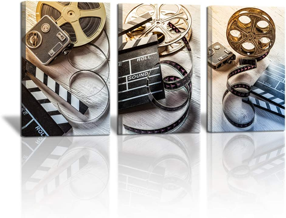 3 Piece Film and Camera Canvas Wall Decor Filmmaking Concept Scene Clapper Picture Modern Home Art Home Movie Theater Media Room Bar Pub Stretched and Framed Ready to Hang 16