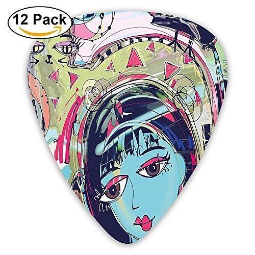 Newfood Ss Funk Style Avatar Woman With Cat On Head Graffiti Unusual Human Humor Art Guitar Picks 12/Pack Set]()