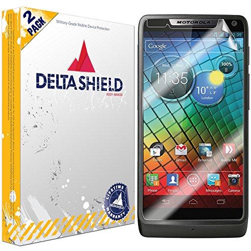 (DeltaShield Screen Protector for Motorola Luge (Droid Razr M)(2-Pack) BodyArmor Anti-Bubble Military-Grade Clear TPU Film)