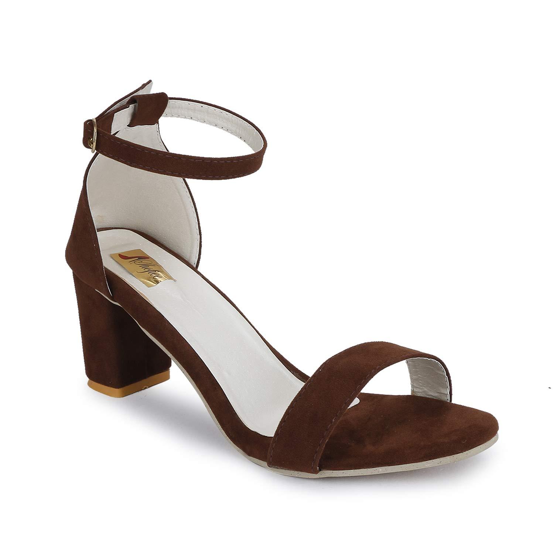 SHOFIEE Women's Brown Synthetic Block Ankle Strap Heels Sandal (39) (B07TCHKMCN) Amazon Price History, Amazon Price Tracker