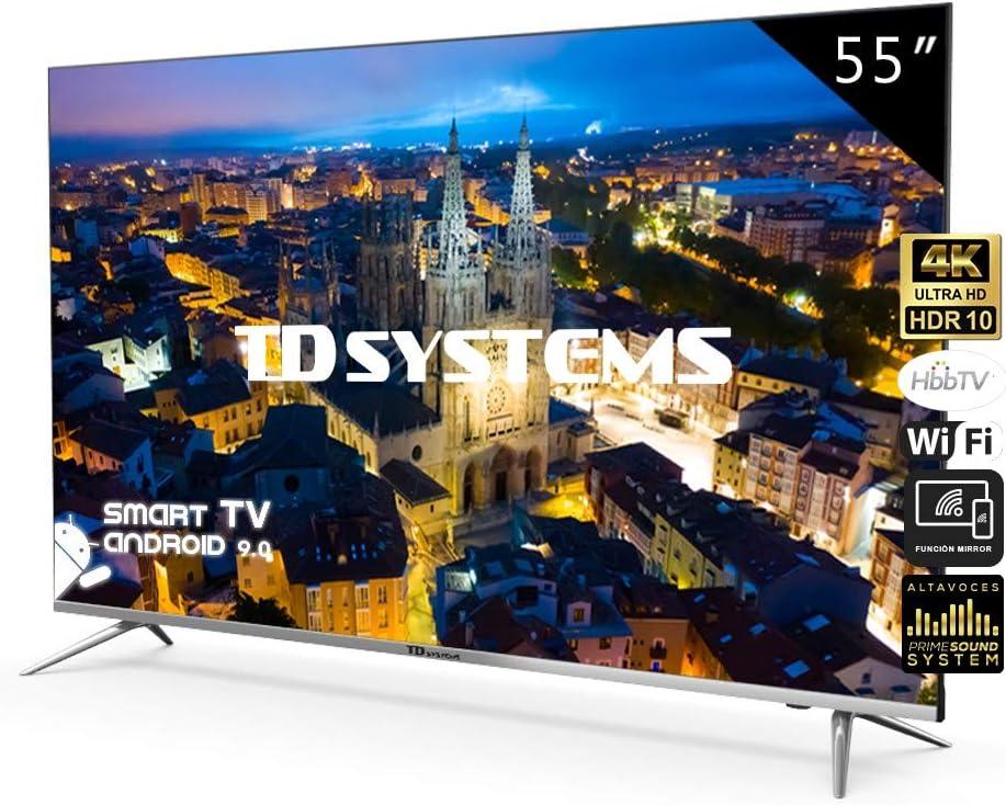 Televisores Smart TV 55 Pulgadas 4K UHD Android 9.0 y Hbbtv / 1300 PCI Hz/ 3X HDMI/ 2X USB/UHD HDR10/DVB-T2/C/S2/ televisiones led TD Systems K55DLJ10US: Amazon.es: Electrónica