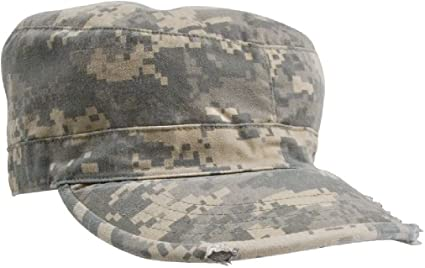 1e3098e145b8d6 Vintage Military Fatigue Hat Fitted - US Army Uniform Patrol Cap Washed