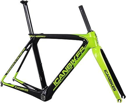 Ican - Cuadro de bicicleta de carretera BB86/DI2, verde, 50 cm ...